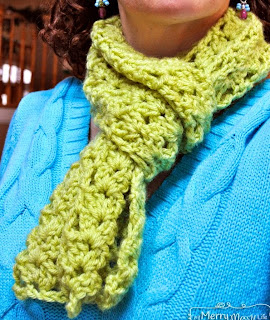 http://mymerrymessylife.com/2014/01/cluster-v-stitch-scarf-free-crochet-pattern-on-one-skein.html