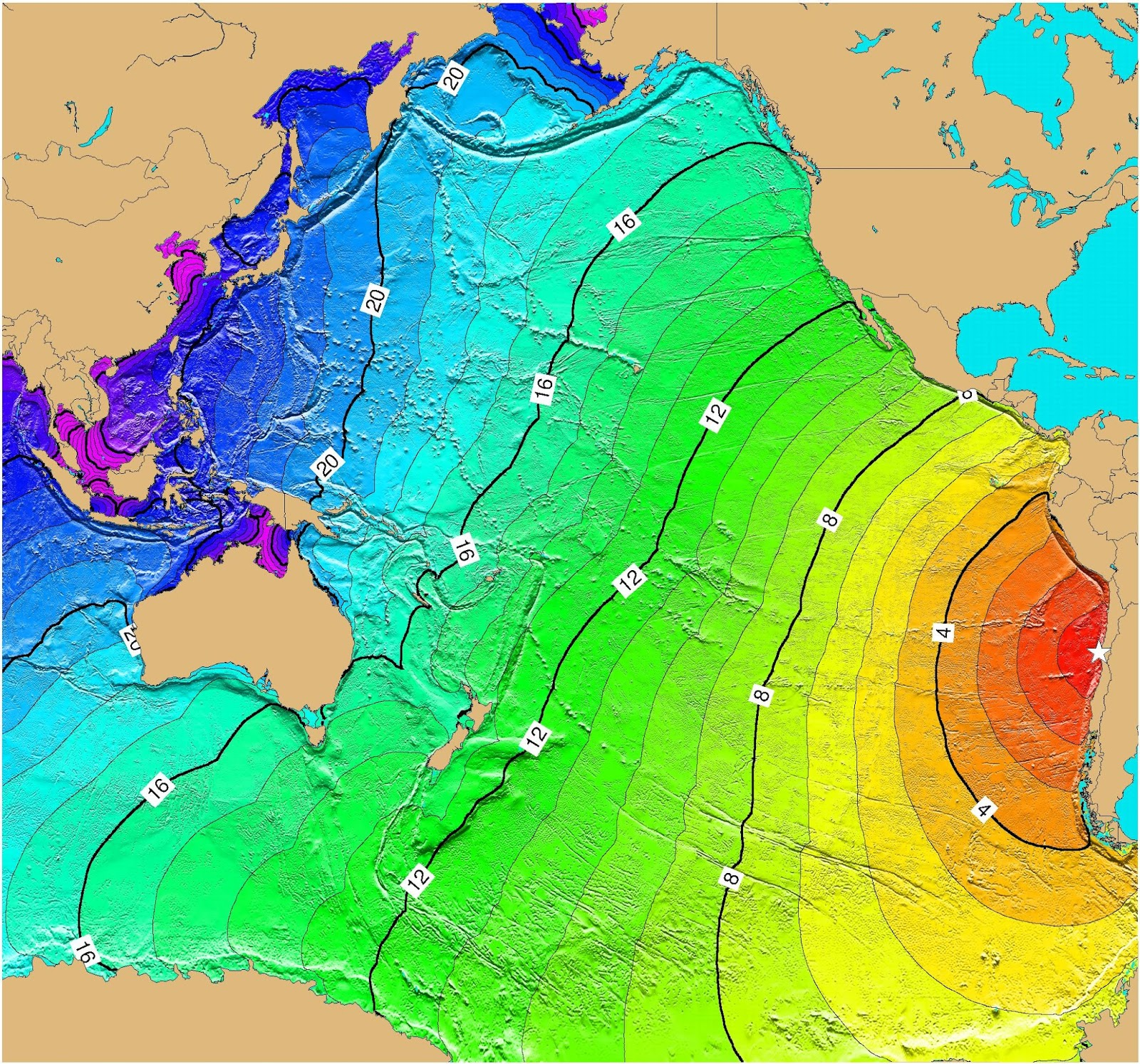 travel time map for a hypothetical magnitude 9 2 earthquake off the coast of central chile at 30os 72ow this scenario was used for the pacific wide