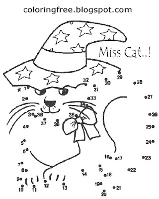 Enchanted cute kitten Dot to dot coloring magical witch cat art ideas great activities for children