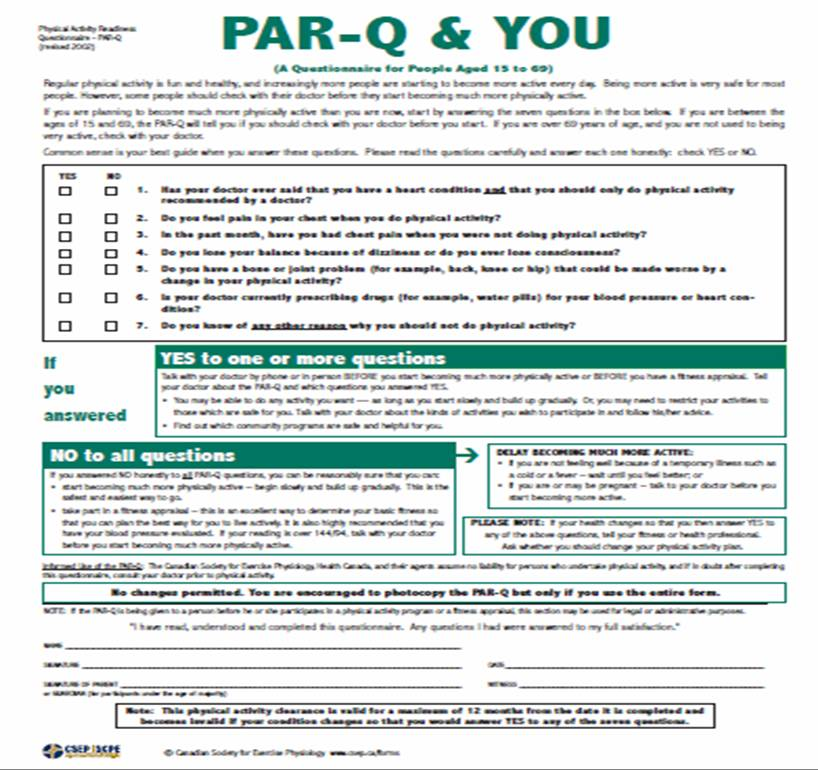 Personal Training: Personal Training Assessment Forms  |Acsm Fitness Assessment Form