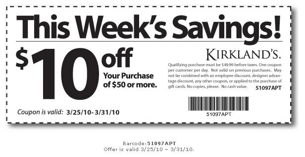 Kirklands discount coupons