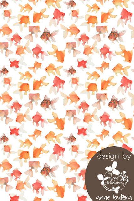 goldfish repeat pattern, fabric design, watercolor, watercolor goldfish, orange, goldfish, painting, watercolor repeat pattern, Anne Butera, My Giant Strawberry