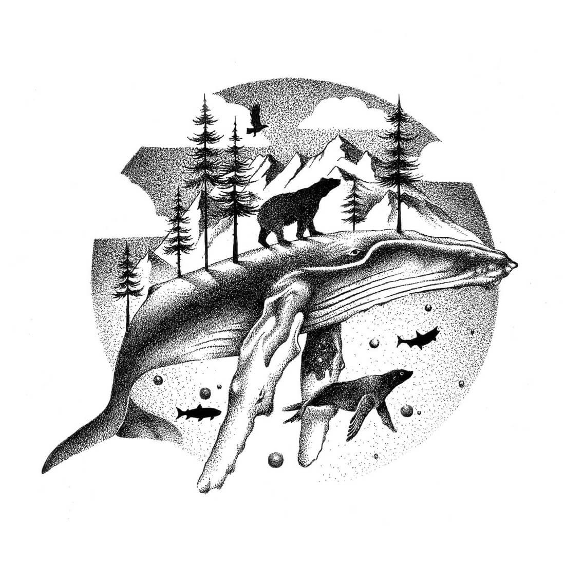 14-Arctic-Wonders-Eagle-Bear-Whale-Seal-and-Fish-Thiago-Bianchini-Ink-Animal-Drawings-Within-a-Drawing-www-designstack-co