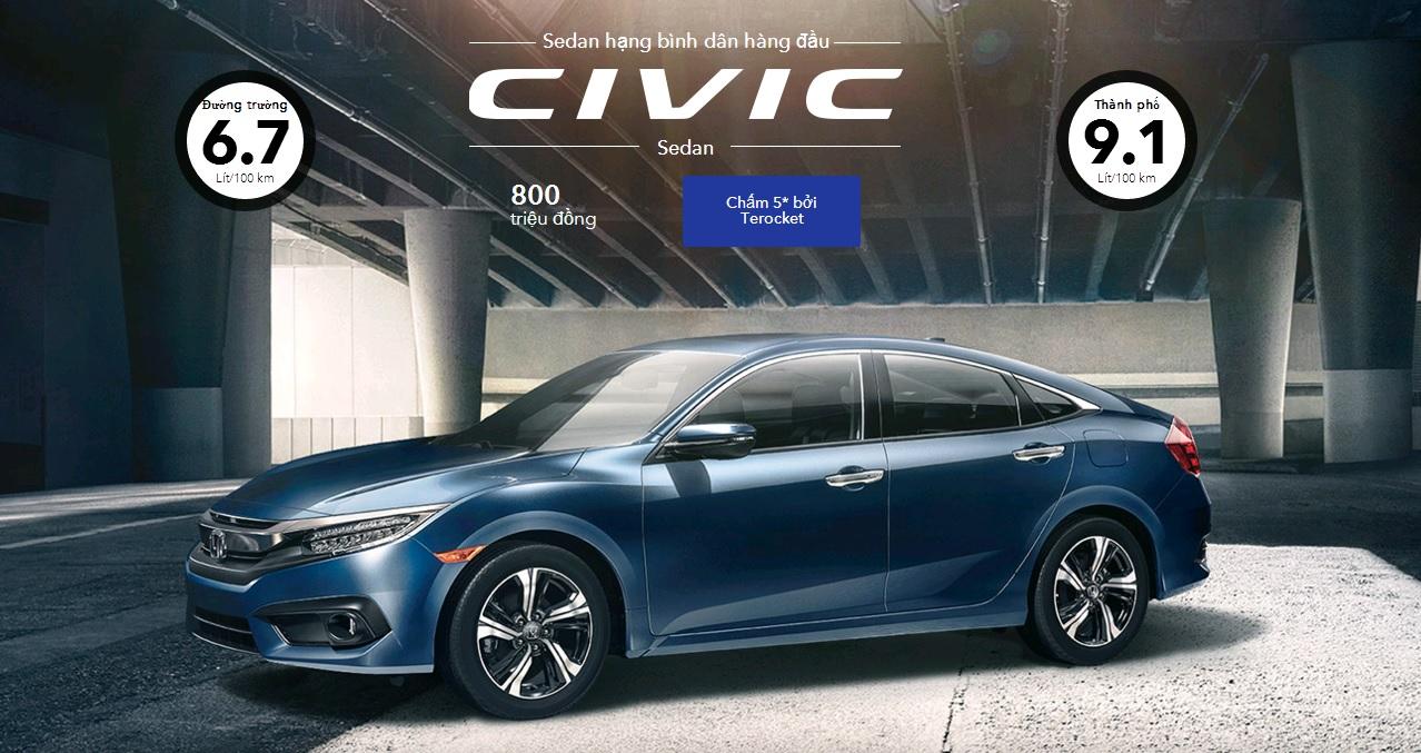 Honda Civic 2016 là một trong những dòng xe sedan cỡ trung được Terocket đánh giá rất cao