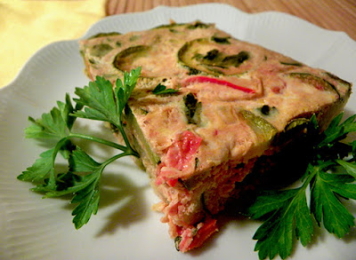 Slice of Tunisian Eggah Garnished with Parsley