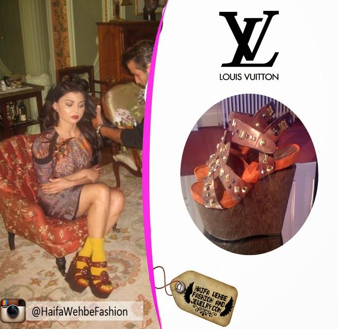 0d7b030cf07 Haifa Wehbe Wearing cork wedges by Louis Vuitton