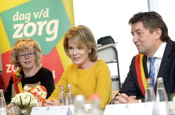 Queen Mathilde of Belgium and Limburg Province governor Herman Reynders are seen during a visit to the Asster psychiatric hospital part of the week of cares, in Sint-Truiden
