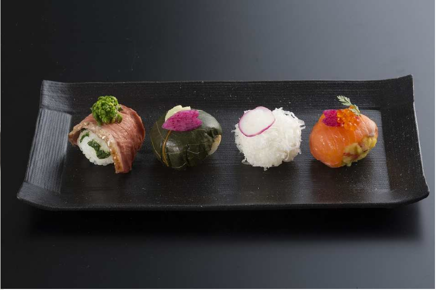 Special Temari sushi created by star chefs from JAL BEDD Sky Auberge