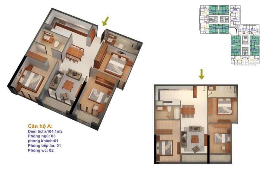 Mặt bằng căn hộ số 01-02-05-06-11-12-15-16 Ruby 4- Goldmark City 136 Hồ Tùng Mậu