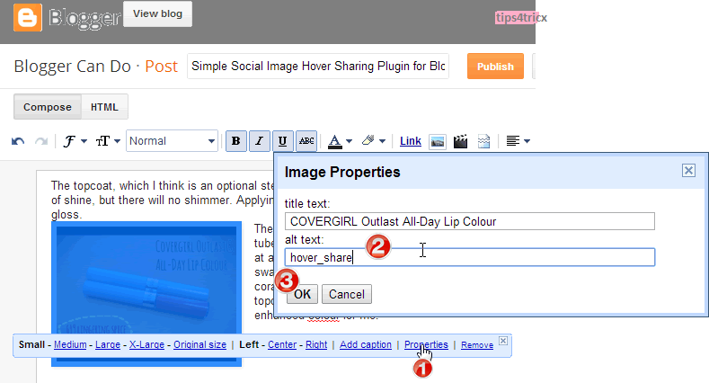 Simple Social Image Hover Sharing Plugin for Blogger by tips4tricx