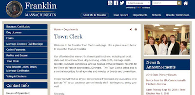 screen grab of Franklin Town Clerk new webpage