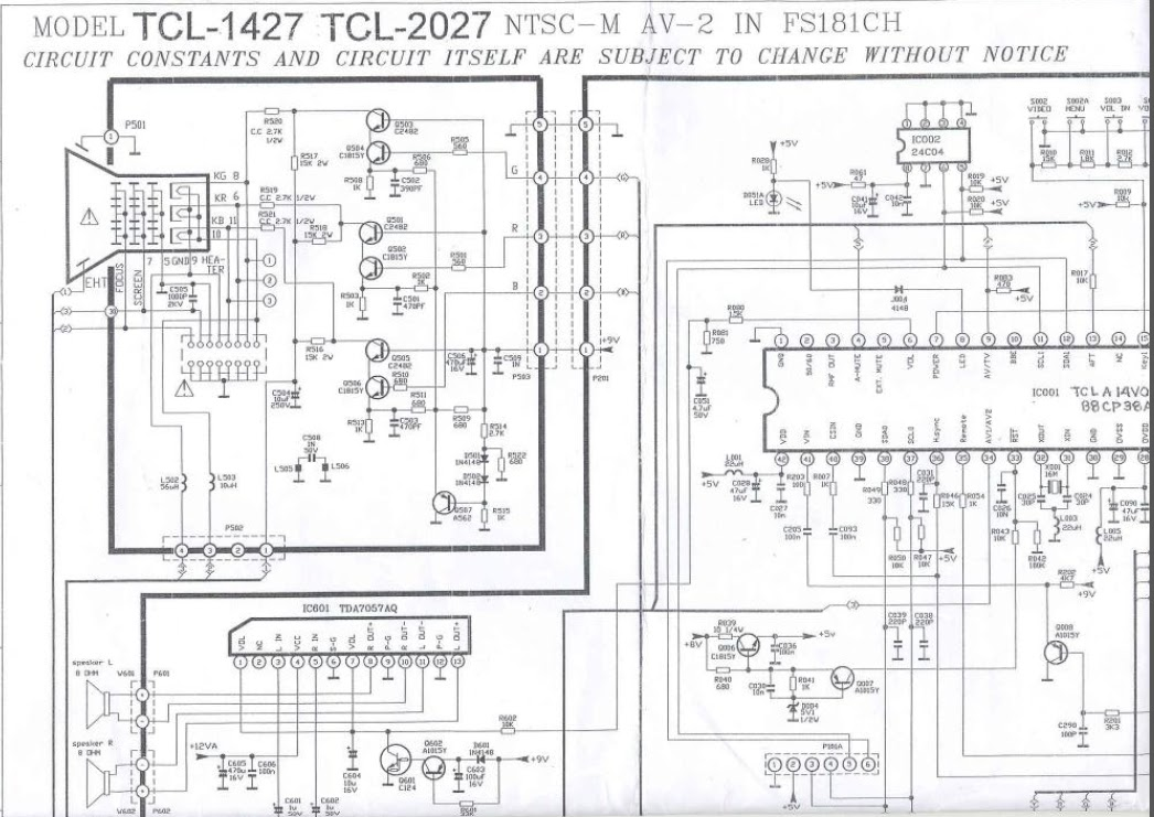 tcl crt tv circuit diagram