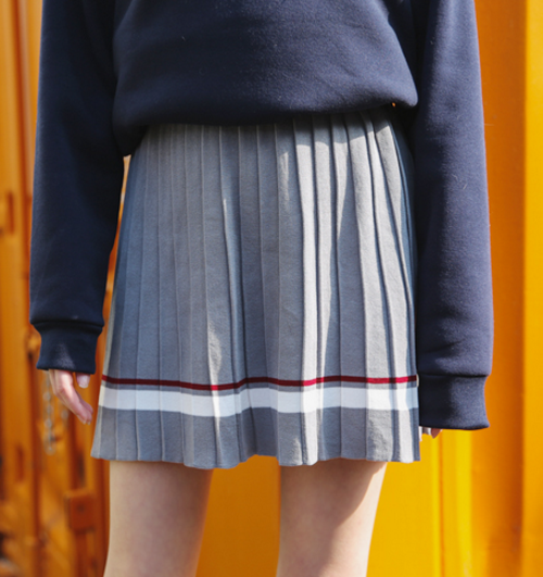 Strip-Accented Pleated Knit Skirt