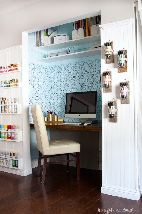 create a home office inside a closet