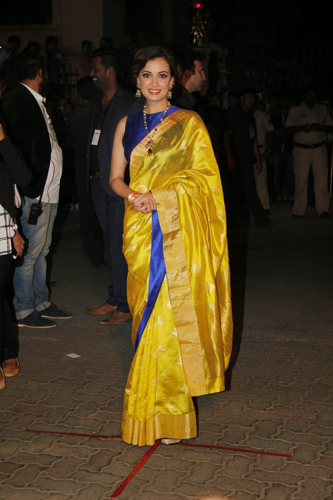 Hot Photos Dia Mirza In Yellow Designer Saree