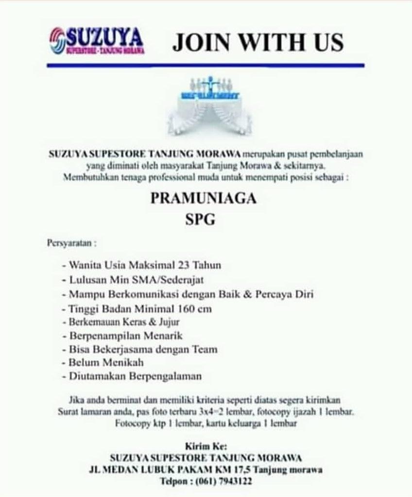 Info Loker Sma Smk Di Suzuya Superstore Tanjung Morawa April 2019 Lowongan Kerja Medan Terbaru Tahun 2021