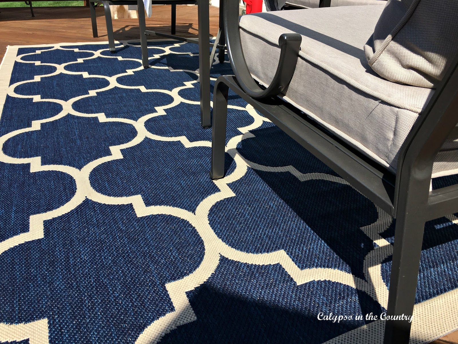 Navy and Tan outdoor rug