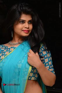 Telugu Actress Alekhya Stills in Green Saree at Swachh Hyderabad Cricket Press Meet  0061.JPG