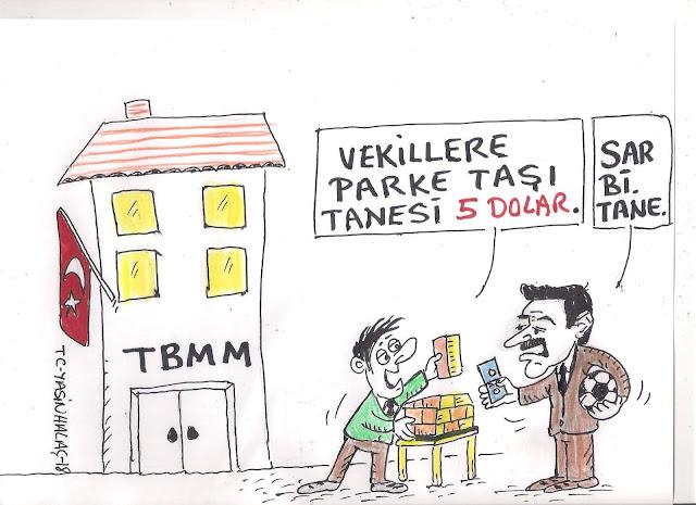 vekillere parke taşı karikatürü