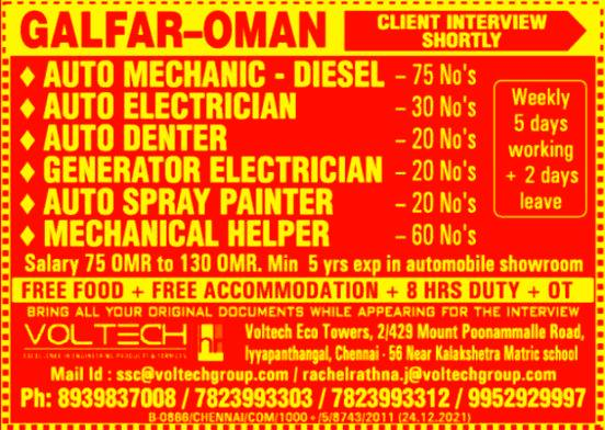 Galfar Automobile Oman Job Vacancies Listing