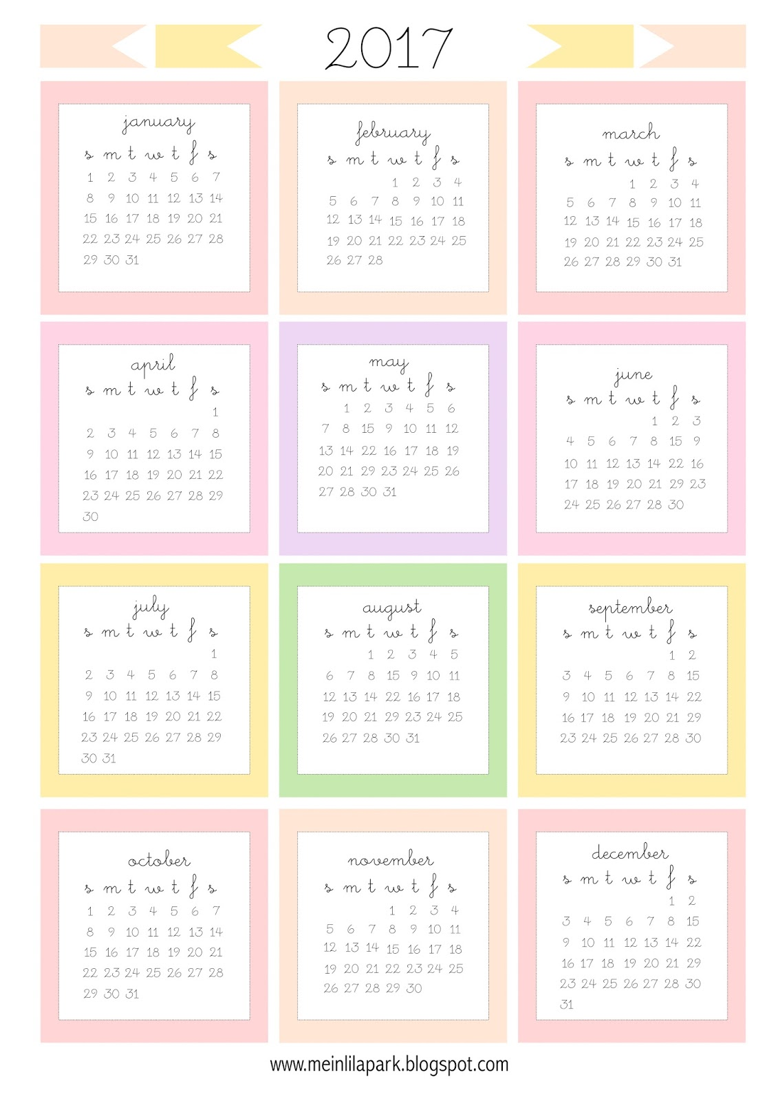 Free printable 2017 mini calendar cards - bullet journal stickers