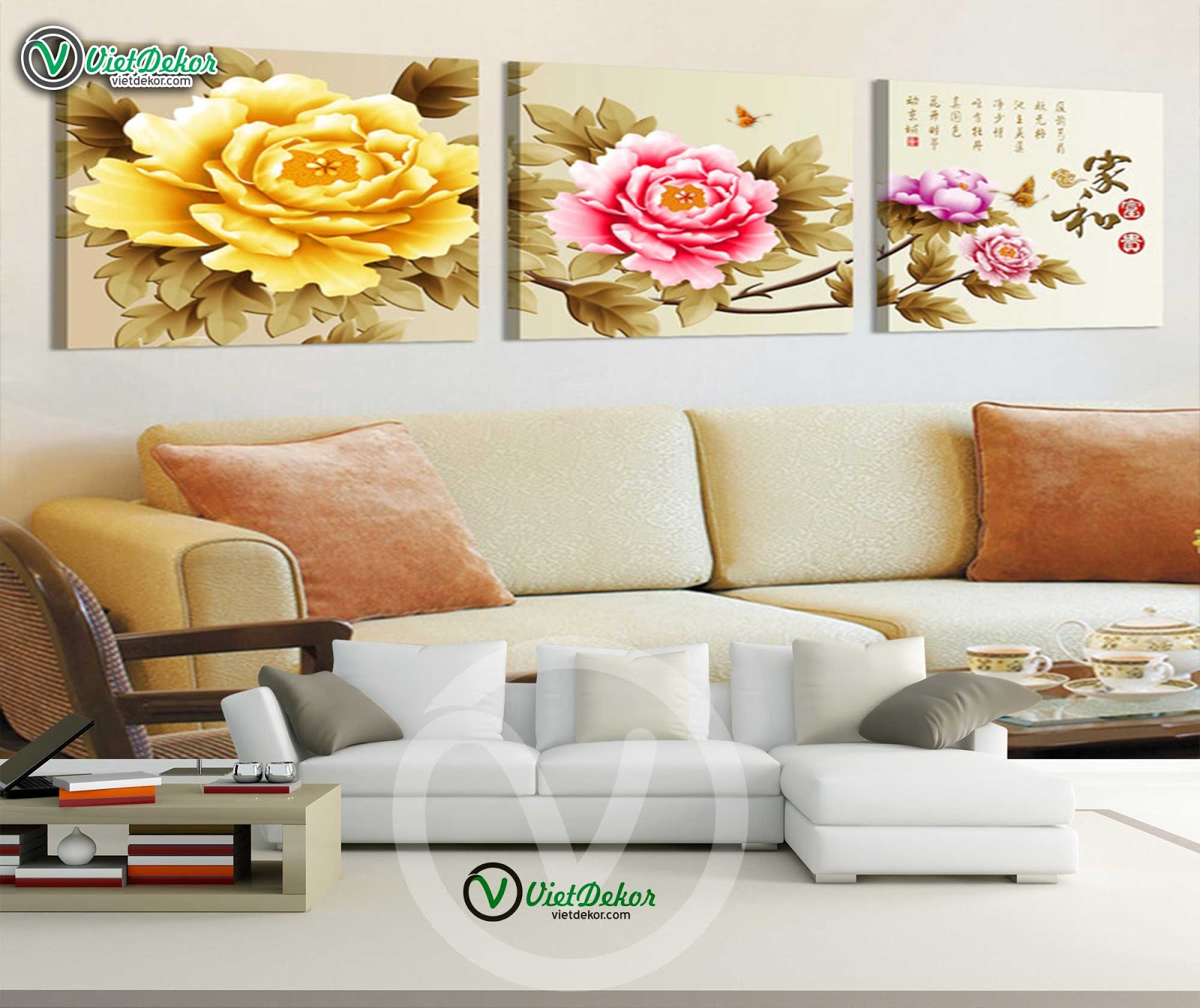 Tranh bộ hoa mẫu đơn cho phòng khách phòng ngủ đẹp