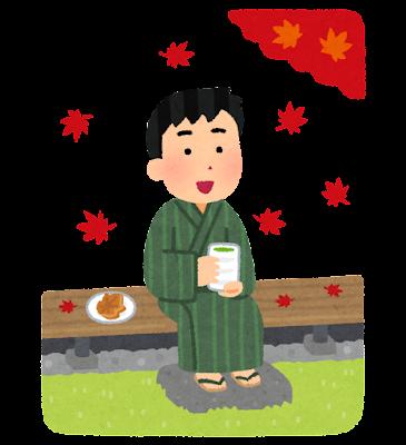 縁側で紅葉を見る人のイラスト(男性)