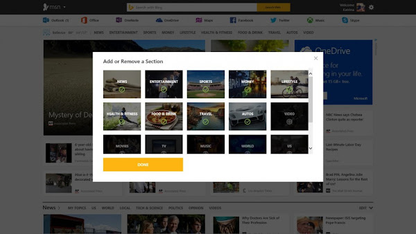 customize new MSN homepage
