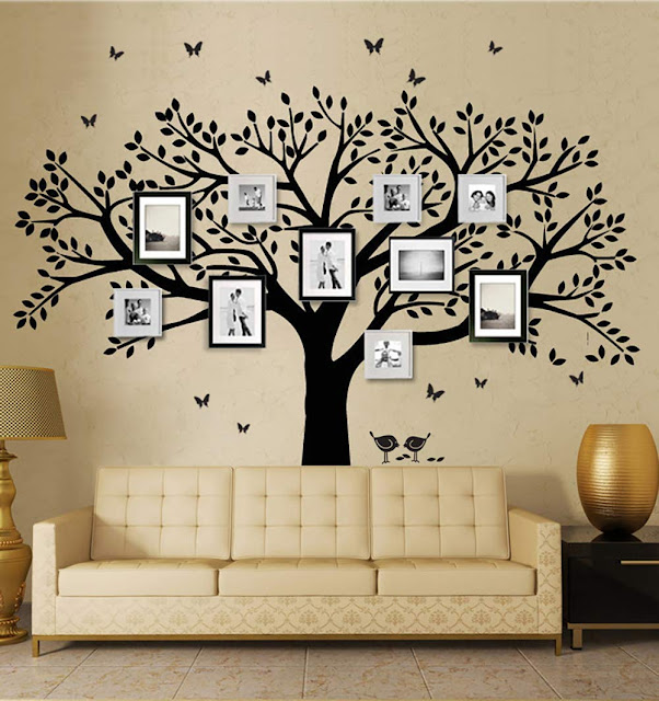 Family Tree Wall Decal Butterflies and Birds Wall Decal Vinyl Wall Art Photo Frame Tree Stickers