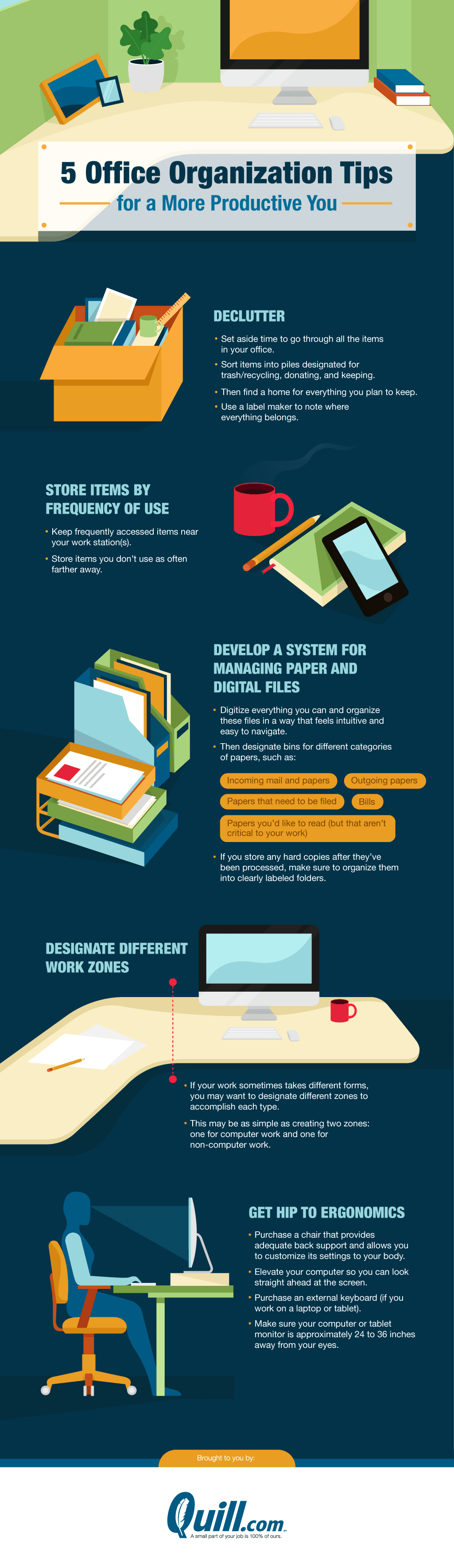 Office organization ideas for greater productivity #infographic