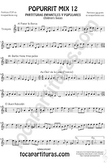 Partitura de Trompeta y Fliscorno Popurrí Mix 12 Partituras de Al Pasar la Barca, Mi Barba tiene tres pelos, El buen rabadan, Aur Clair de la luna Infanti Sheet Music for Trumpet and Flugelhorn