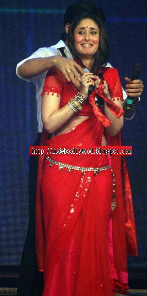 Kareena Kapoor Hot Boobs In Red Saree  Nude Bollywood-8409