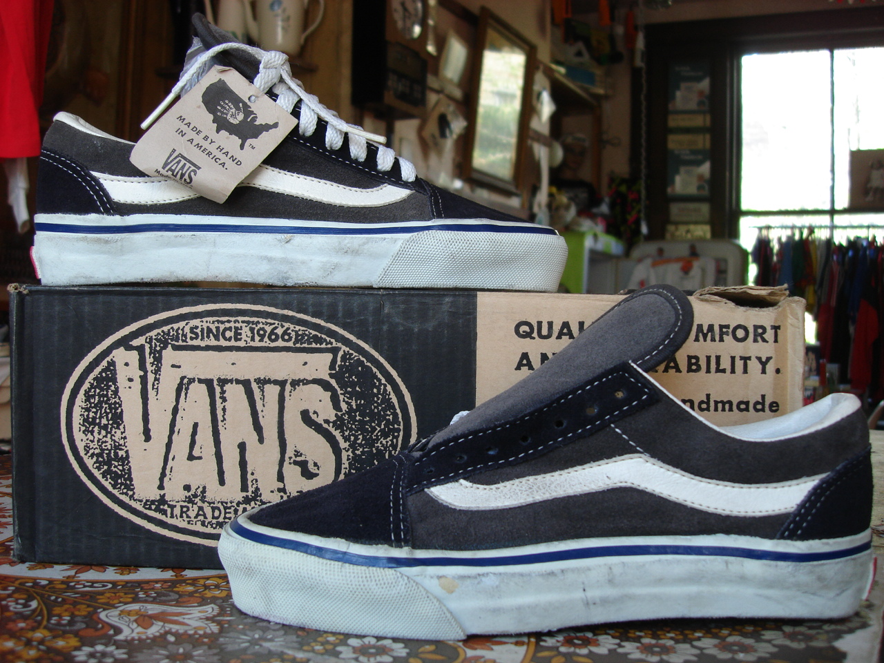 vintage VANS style  36 OLD SKOOL charcoal navy full solid suede MADE IN USA  90 s jazz stripe USw6 US4 82e55529f