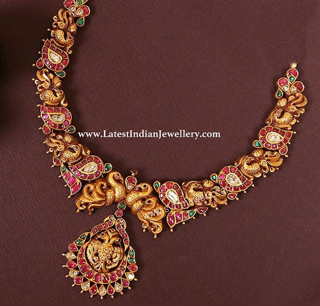 Peacock Mango Combination Necklace