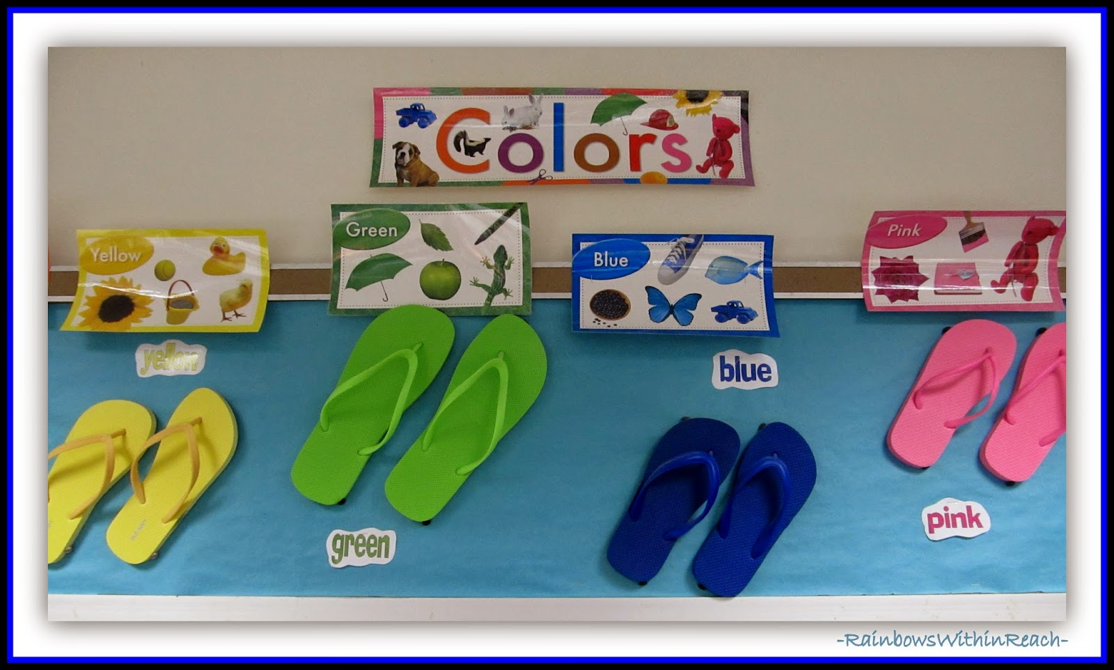 8bf683d3a Ocean Bulletin Board using Flip Flops as Color Focus  Ocean RoundUP at  RainbowsWithinReach