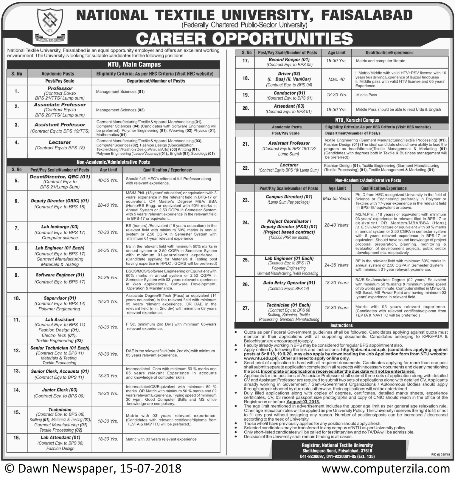 Career Opportunities at National Textile University, Faisalabad
