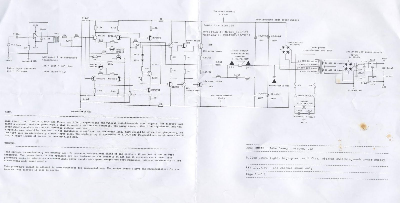 W High Power Amplifier Circuit Diagram Schematic
