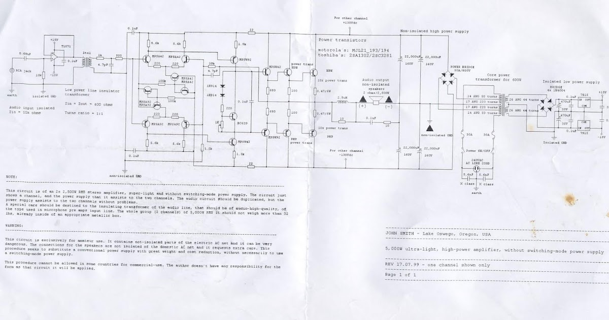 5000W High Power Amplifier Circuit Diagram Schematic