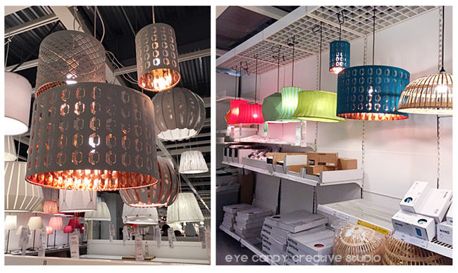 modern lighting solutions at IKEA, copper accents on lamp, colored lamps