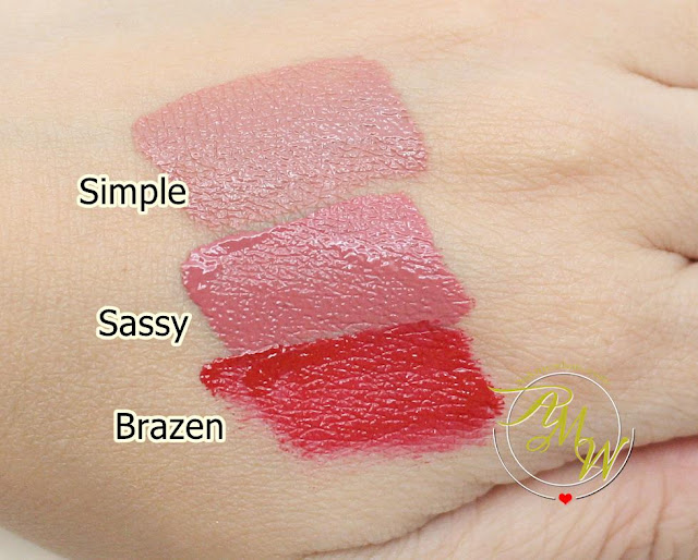 a swatch photo of BLK Long-Lasting Liquid Matte Lipsticks review - Simple, Sassy and Brazen.