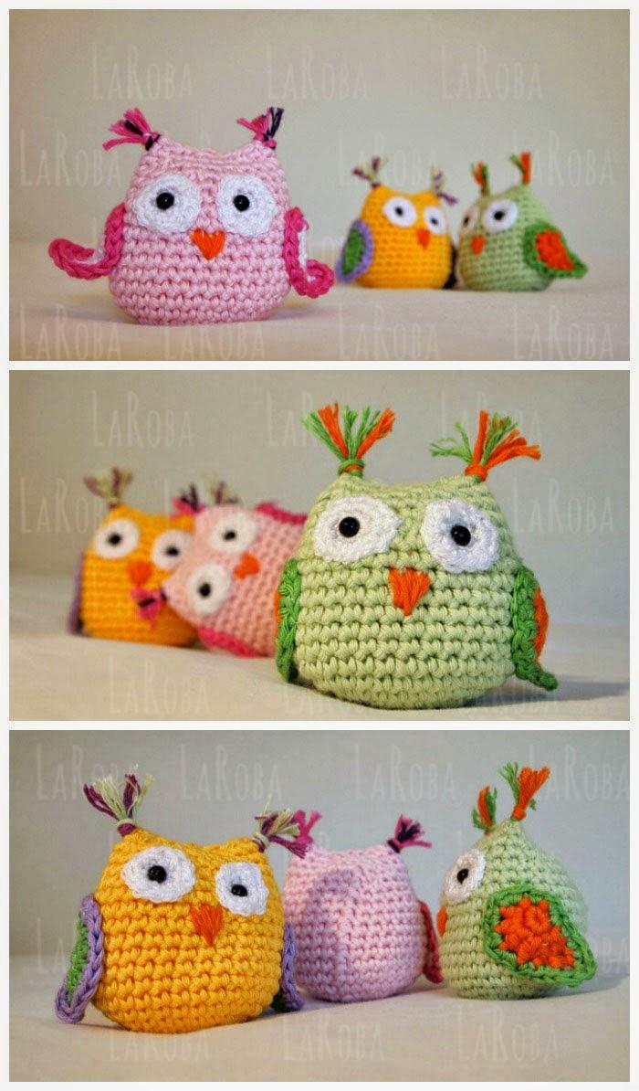 Crochet Baby Owl Ornaments - Tutorial Kleine Eulen, Anleitung ... | 1194x700
