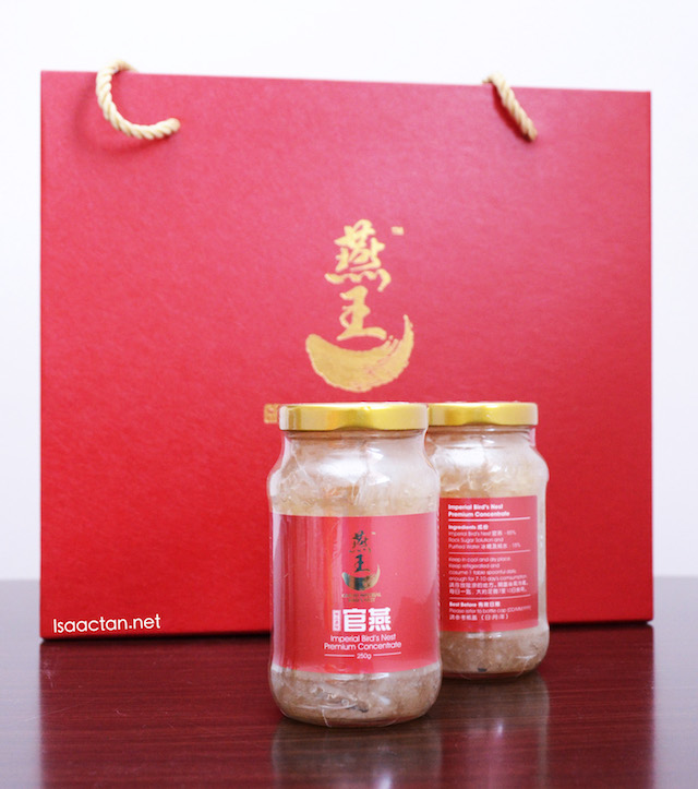 Vacuum sealed for freshness, two bottles of Imperial Bird's Nest Premium Concentrate 250g