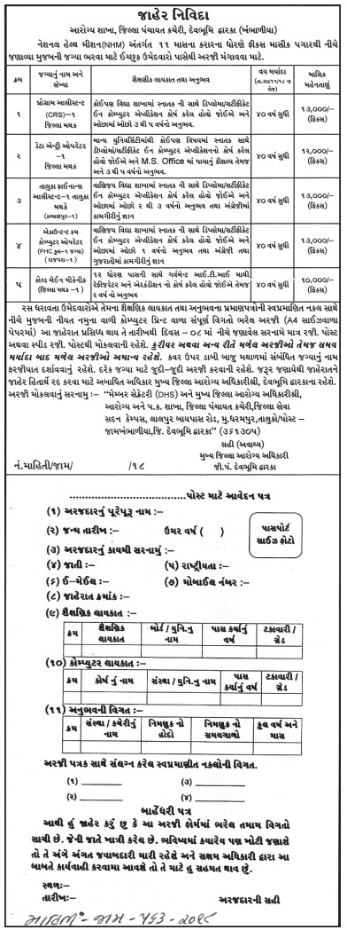 NHM Devbhumi Dwarka Recruitment for Data Entry Operator