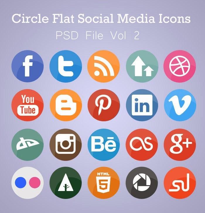 Free Flat Circle Social Media Icons (PSD)