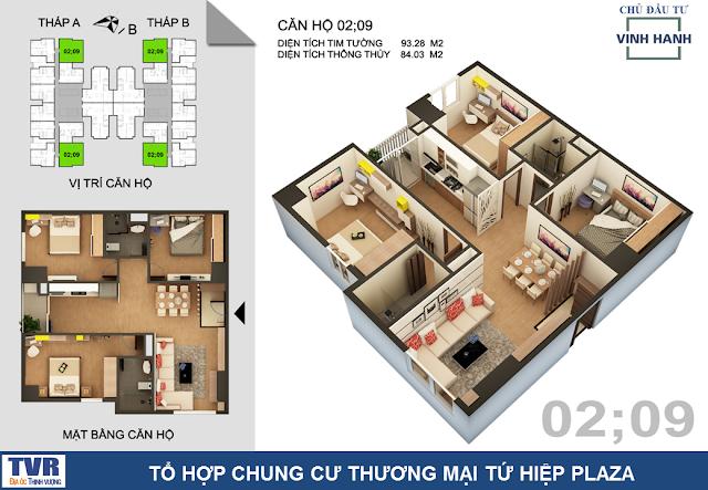 Thiết kế căn hộ 02 và 09, diện tích 85m2 thông thủy (03 phòng ngủ)