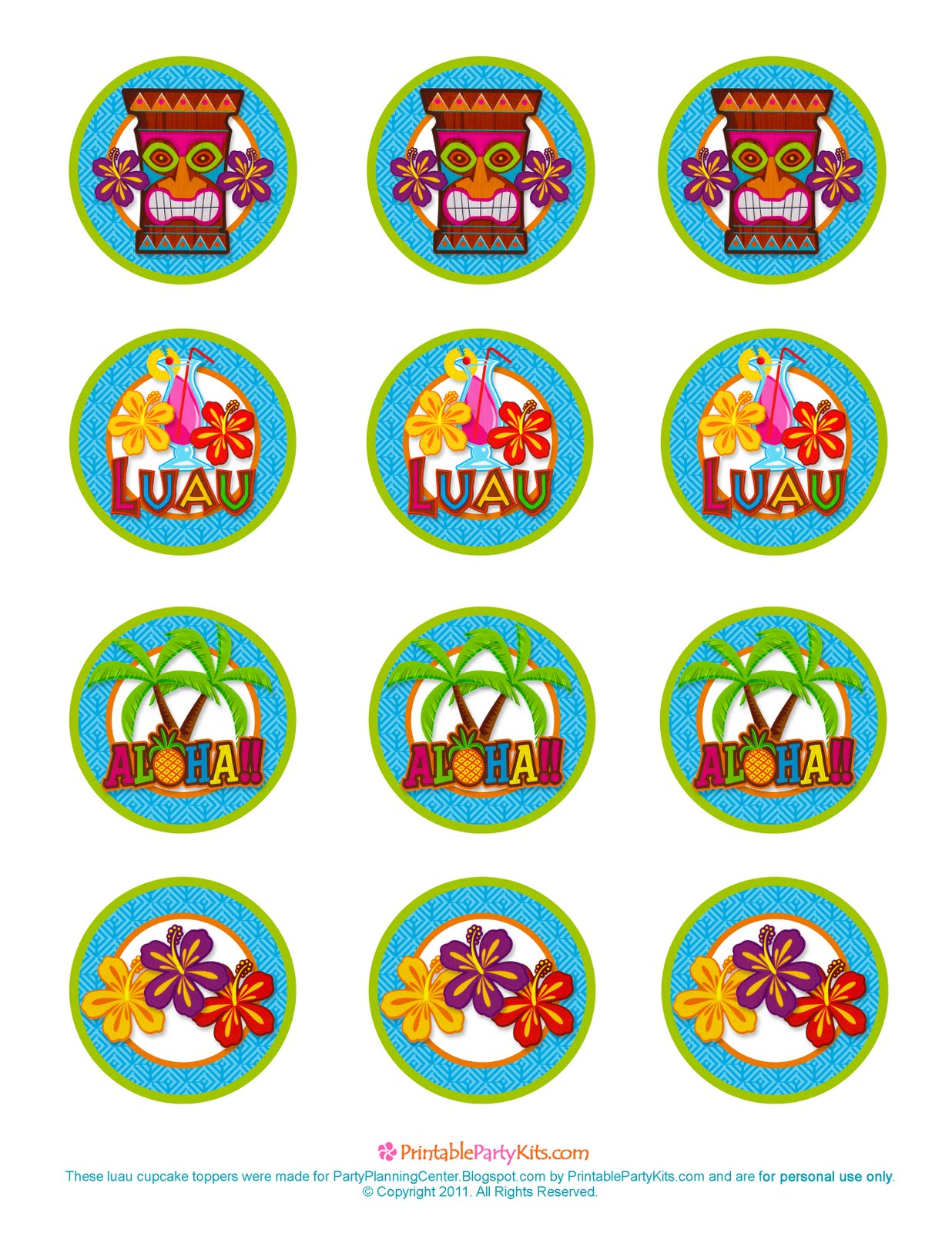 Party Planning Center Free Printable Hawaiian Luau Cupcake Toppers