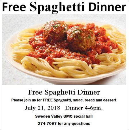 7-21 FREE Spaghetti Dinner, Sweden Valley UMC