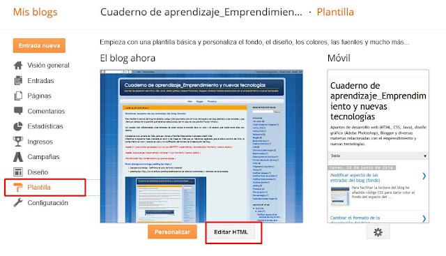 Editar HTML de Plantilla