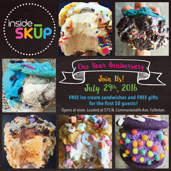 FREE ICE CREAM SANDWICHES AND GIFTS TO CELEBRATE INSIDE SKUP'S 1 YEAR ANNIVERSARY ON JULY 29!