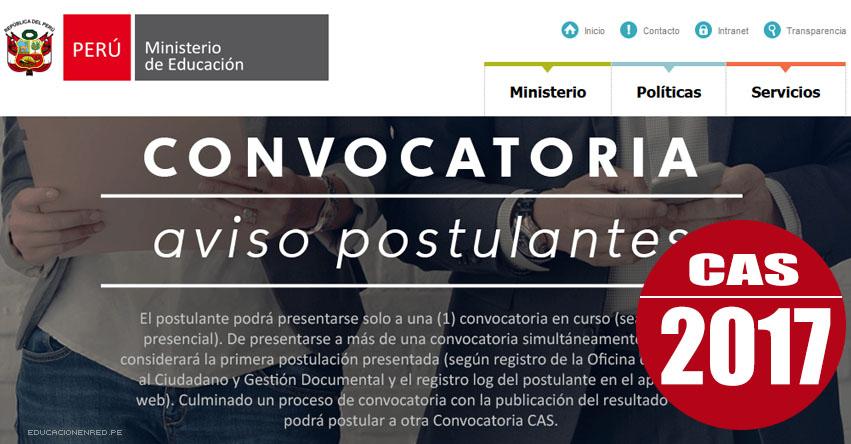 MINEDU: Convocatoria CAS Mayo 2017 - Cerca de 200 Puestos de Trabajo en el Ministerio de Educación (Inscripción hasta el 26 Mayo) www.minedu.gob.pe